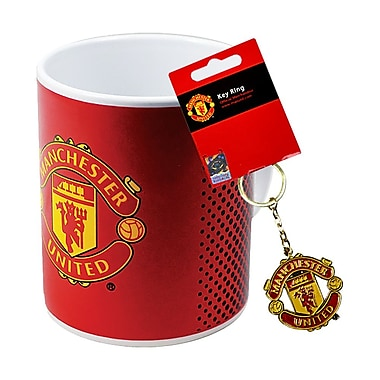 Manchester United Mug and Keychain Set, 2-Piece Set, Red