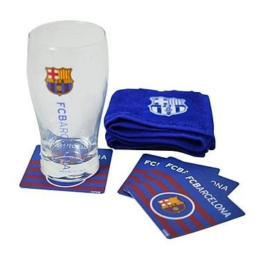 Mini ensemble de bar Barcelona avec une pinte en verre, une serviette de bar et 4 sous-verre