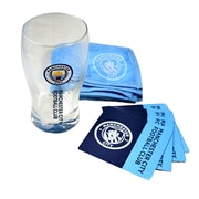 Manchester City Mini Bar Set with Pint Glass, Bar Towel and 4 Coasters