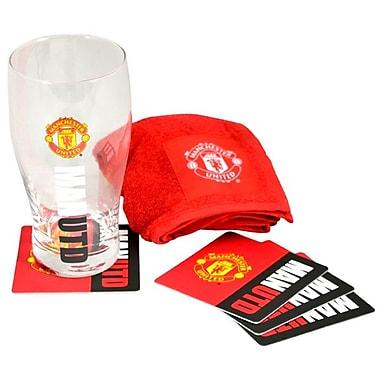 Mini ensemble de bar de Manchester United avec une pinte en verre, une serviette de bar et 4 sous-verres