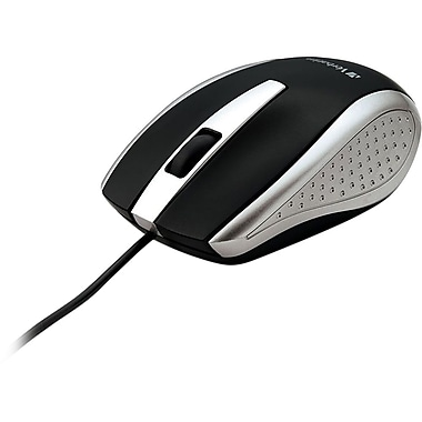 Verbatim Corded Notebook Optical Mouse, Silver