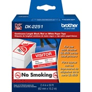 Brother DK2251, Black/Red on White Continuous Length Paper Labels