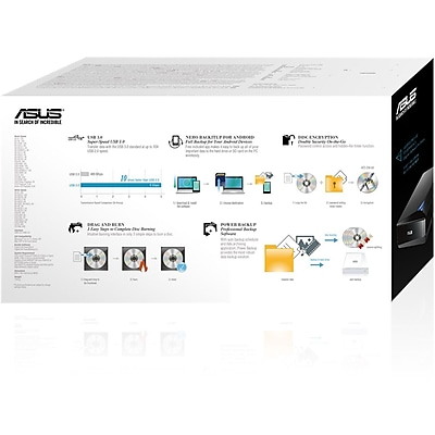 Asus Turbo Drive BW-16D1X-U External Blu-ray Writer, Black IM19J4109