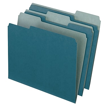Pendaflex® Earthwise® Recycled Color File Folders, 3 Tab Positions, Letter Size, Blue, 100/Box (4302)