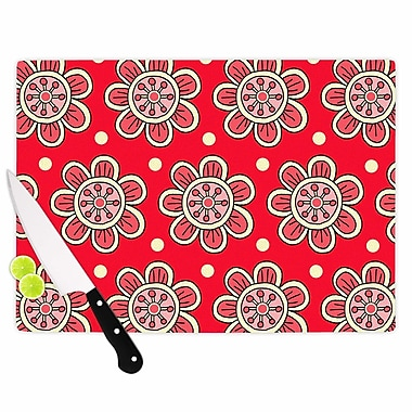 East Urban Home Sarah Oelerich Glass 'Scarlet Flowers Floral' Cutting Board