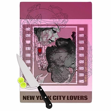 East Urban Home Lazar Milanovic Glass 'New York City Lovers' Cutting Board