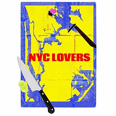 East Urban Home Lazar Milanovic Glass 'NYC Lovers' Cutting Board; 0.25'' H x 11.5'' W x 8.25'' D
