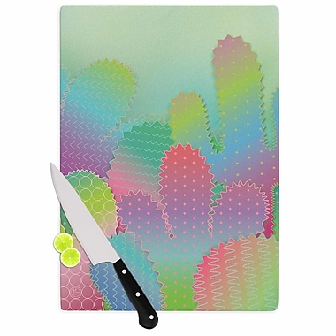 East Urban Home Graphic Tabby Glass 'Colorful Cacti Garden' Cutting Board