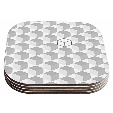 East Urban Home Greyscale Cubed' Geometric Coaster (Set of 4)
