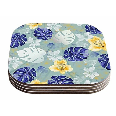 East Urban Home Mmartabc 'Leaves Monstera and Orchids' Digital Coaster (Set of 4)