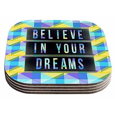 East Urban Home AlyZen Moonshadow 'Believe In Your Dreams 1' Typography Coaster (Set of 4)