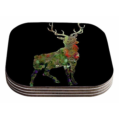 East Urban Home Suzanne Carter 'Paisley Deer' Abstract Coaster (Set of 4)