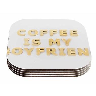 East Urban Home Kristi Jackson 'Coffee Is My Boyfriend' Typography Coaster (Set of 4)