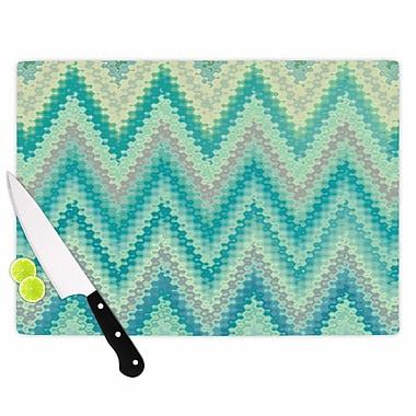 East Urban Home Nika Martinez Glass 'Seventies Emerald Chevron Abstract' Cutting Board