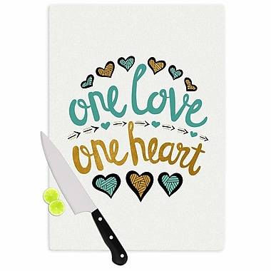 East Urban Home Pom Graphic Design Glass 'One Love One Heart Typography Illustration' Cutting Board