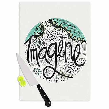 East Urban Home Pom Graphic Design Glass 'Imagine Typography' Cutting Board