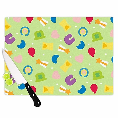 East Urban Home Glass 'Charms of Luck' Cutting Board; 0.25'' H x 15.75'' W x 11.5'' D