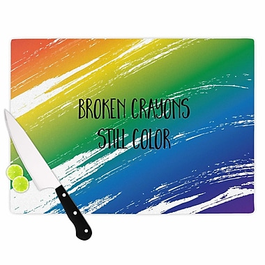 East Urban Home NL designs Glass 'Broken Crayons Abstract' Cutting Board