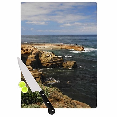 East Urban Home Nick Nareshni Glass 'Ocean Jetty' Cutting Board; 0.25'' H x 15.75'' W x 11.5'' D