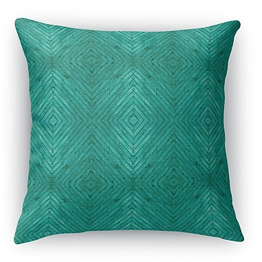 Ivy Bronx Mendez Turquoise Wood Throw Pillow; 16'' H x 16'' W x 6'' D