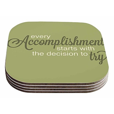 East Urban Home NL Designs 'Accomplishment' Typography Coaster (Set of 4)