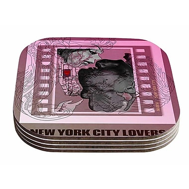 East Urban Home Lazar Milanovic 'New York City Lovers' Coaster (Set of 4)