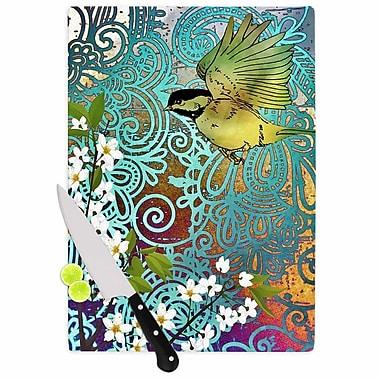 East Urban Home AlyZen Moonshadow Glass 'Bird and Blossom' Cutting Board