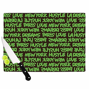 East Urban Home Just L Glass 'Luxy Writing Typography' Cutting Board; 0.25'' H x 11.5'' W x 8.25'' D