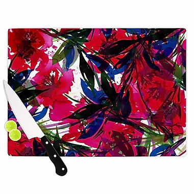 East Urban Home Ebi Emporium Glass 'Floral Fiesta Maroon' Cutting Board