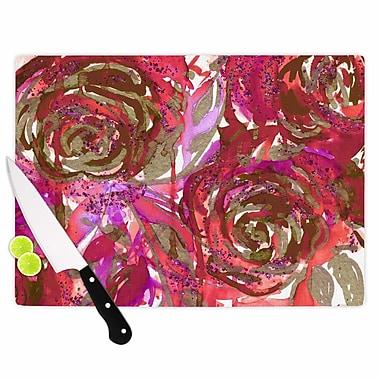 East Urban Home Ebi Emporium Glass 'Rose Combustion Floral' Cutting Board