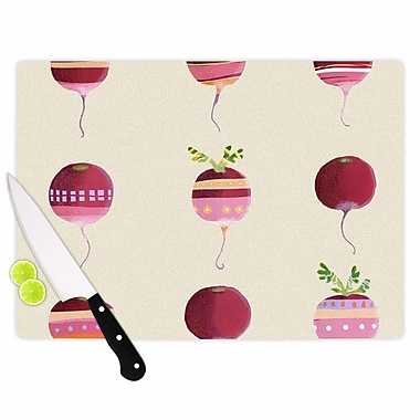 East Urban Home Judith Loske Glass 'Happy Radishes' Cutting Board; 0.25'' H x 11.5'' W x 8.25'' D