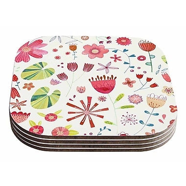 East Urban Home Nic Squirrell 'Pressed Wildflowers' Coaster (Set of 4)