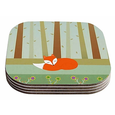 East Urban Home Cristina bianco Design 'Sleeping Fox' Illustration Coaster (Set of 4)