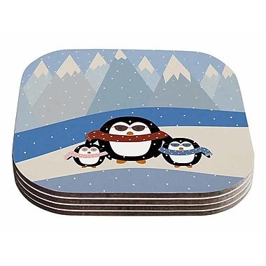 East Urban Home Cristina bianco Design 'Cute Penguins' Illustration Coaster (Set of 4)