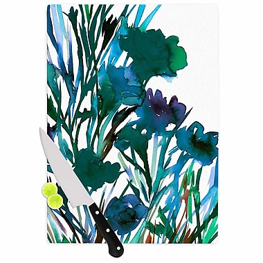 East Urban Home Ebi Emporium Glass 'Petal For Your Thoughts Teal' Cutting Board