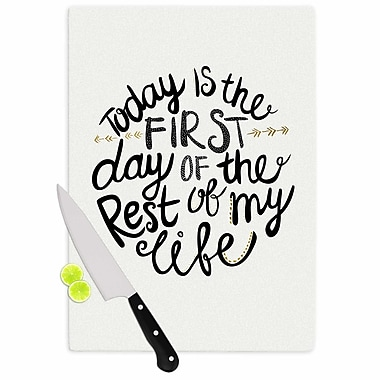 Pom Graphic Design Glass 'Today Is the First Day Typography Illustration' Cutting Board