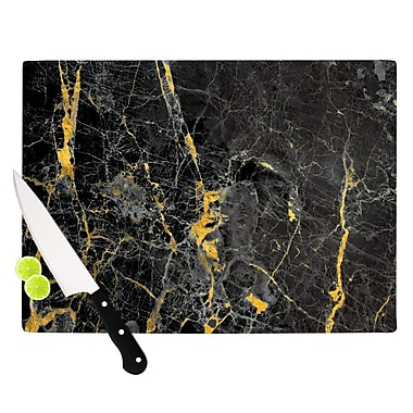 East Urban Home Glass 'Gold Fleck Marble Digital Abstract' Cutting Board