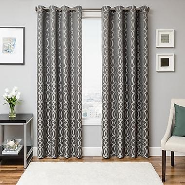 Ivy Bronx Jade Geometric Semi-Sheer Single Curtain Panel; Pewter