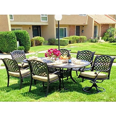Darby Home Co Beadle Oval Sesame 7 Piece Dining Set w/ Cushions