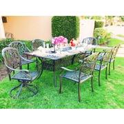 Fleur De Lis Living Nina Rectangular 9 Piece Metal Dining Set w/ Cushions