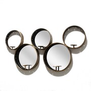 """5 Circles Metal Wall Mirror With Candle Holder 45.25"""" x 4.5"""" x 14.25"""" (1139-TX8404-00)"""