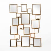 """Aroldo Multi Metal Wall Mirror With Candle Holder, 28.25"""" x 3.25"""" x 38.5"""", Gold (1139-TX8405-00)"""