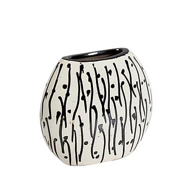 Maribo 8 Black Stripe with Dot Flat Vase (2310-WX4616-00)