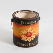 Seau en céramique avec l?inscription « Flowers Fresh Daily », grand, 6,7 x 6,7 x 7,9 po (2682-TX6385-0L)