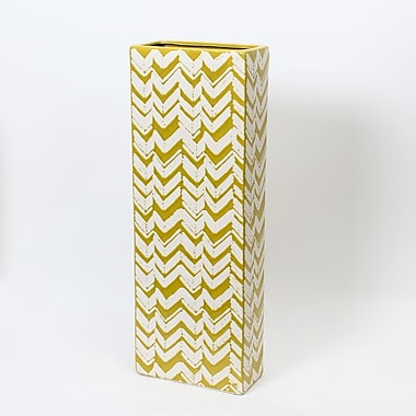Long vase en céramique jaune citron, grand, 8,7 x 4,3 x 23,6 po (2877-TX5604-0L)