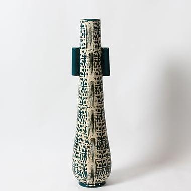 Vase en céramique, grand, 5,9 x 5,9 x 25,2 po, turquoise (2877-TX5610-0L)