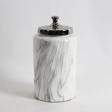 Pot rond en céramique Rosalie avec couvercle argenté, grand, 6 x 6 x 11,8 po (2929-WX3027-00)
