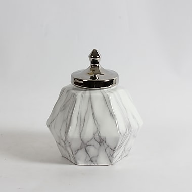 Rupert Hexagon Ceramic Jar with Silver Lid (2929-WX3029-00)