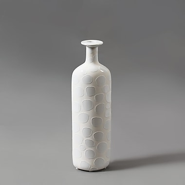 White Bubble Ceramic Bottle Vase, Small, 3.2