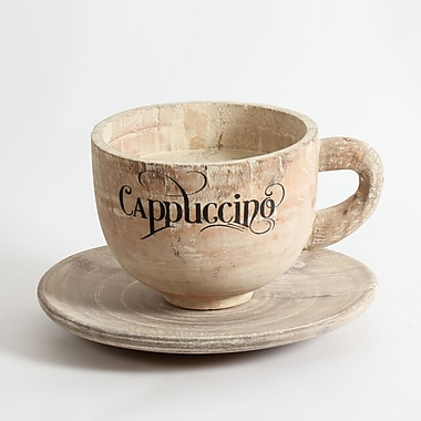 Wooden Cappuccino Cup with Saucer, 12.5